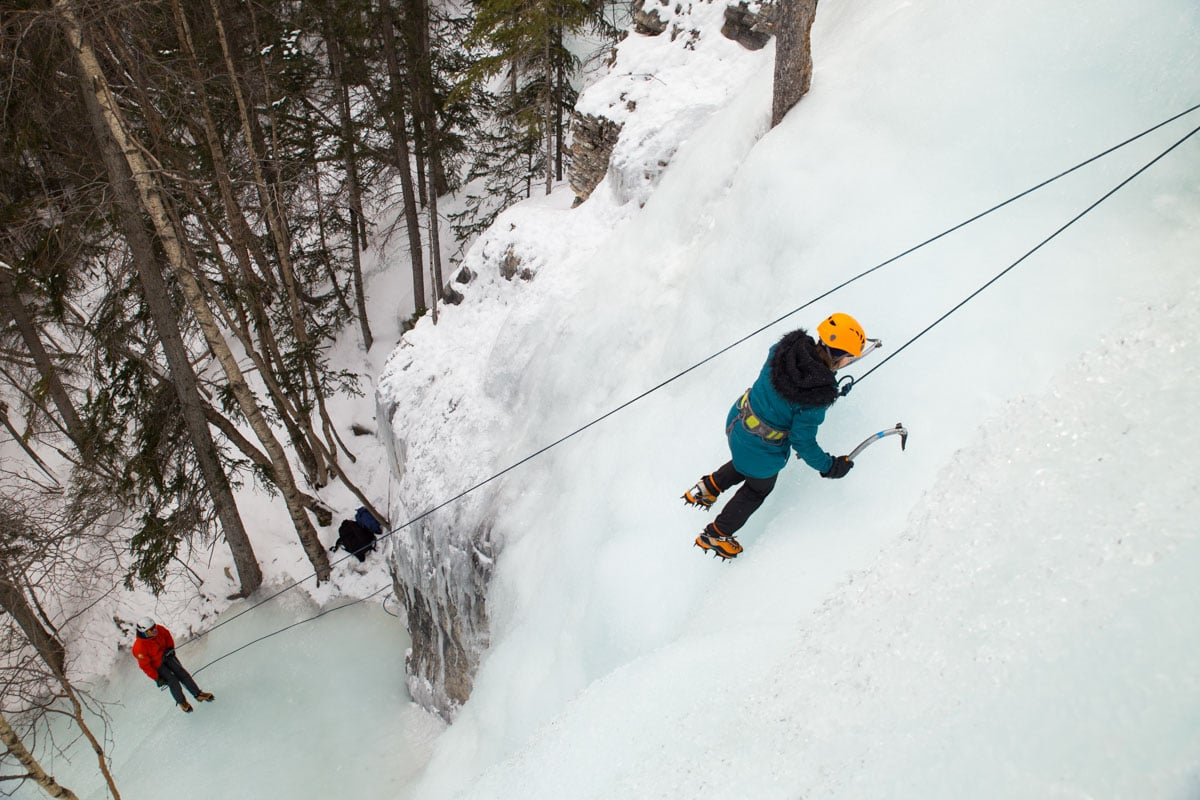 Ice climbing at The Junkyards in Alberta, Canada
