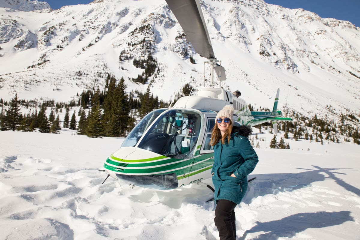 Just after landing in the snow during our helicopter tour in the Rockies
